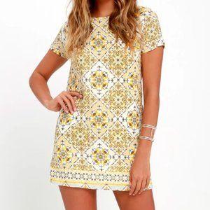 Dandy Lion Yellow Print Shift Dress lulus XS